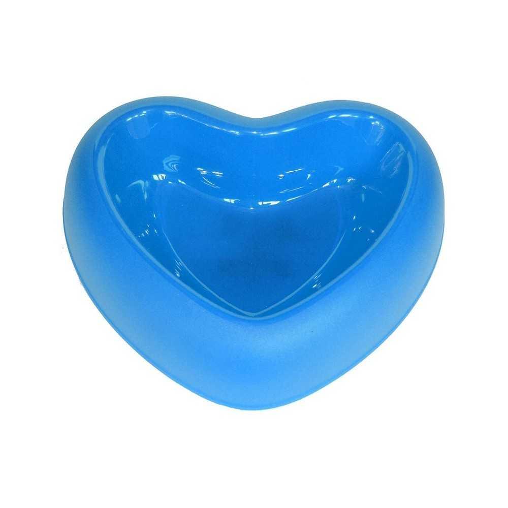 Ciotola in plastica azzurra a forma di cuore per cani