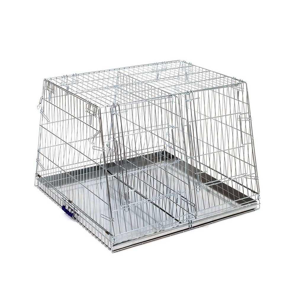 Trasportino Per Cani Doppio In Metallo Pieghevole Inclinato Maxi