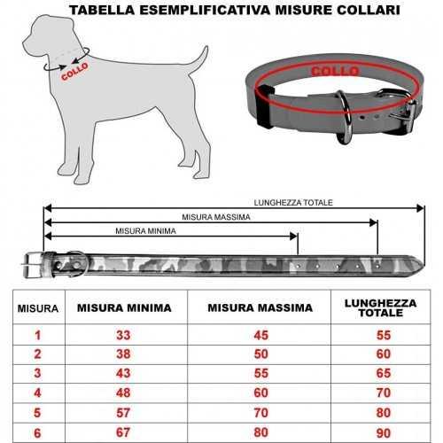 Tabella misure collari un cuoio pelle per cani