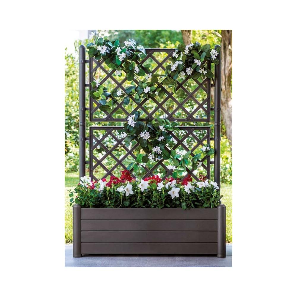 Fioriera quadra in plastica marrone con spalliera cm for Divisori da giardino in plastica